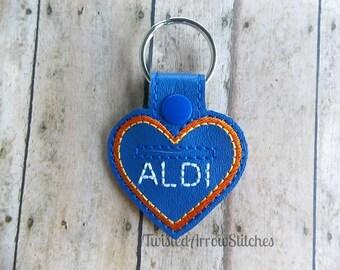 Quarter Keeper Key Chain, Aldi, Heart Shaped Key Fob