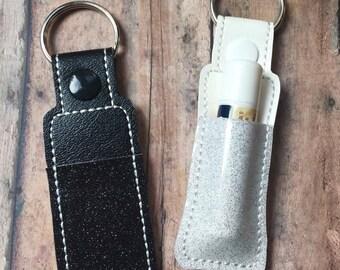 Lip Balm Holder Key Chain, Key Fob, Black or White Glitter