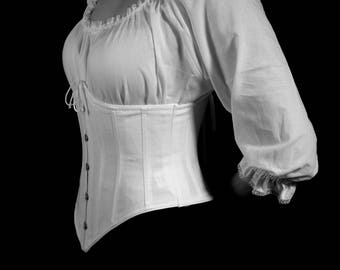 Underbust Waist Cinch Corset Victorian c. 1900 Cotton Coutil Waspie Small through 2XL, custom sized, plus size full figured hourglass