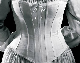 Victorian Corset Civil War Classic Hourglass Julia c.1860 Corset Cotton Brocade Coutil, flattering for all sizes small to plus reenactment