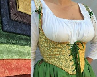 Renaissance Festival Wench Corset Bodice- 2 color underbust with straps harlequin laces front & back Ren Faire Costume, any colors you pick