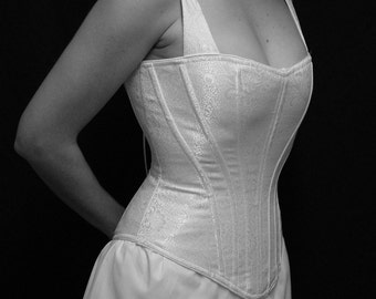 Period Corset with a Modern Shape in White Satin Brocade, Medium