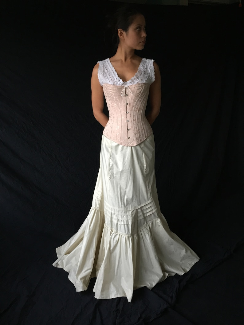 Victorian Lingerie – Underwear, Petticoat, Bloomers, Chemise Victorian Late 19th Century Petticoat in Polished Cotton historic costume cosplay Steampunk skirt with slight train adjustable all sizes $442.00 AT vintagedancer.com