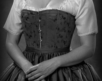 Victorian Corset with busk in Brocade Civil War c.1860 Corset, all sizes small to plus cosplay reenactment historical costume bridal shaping