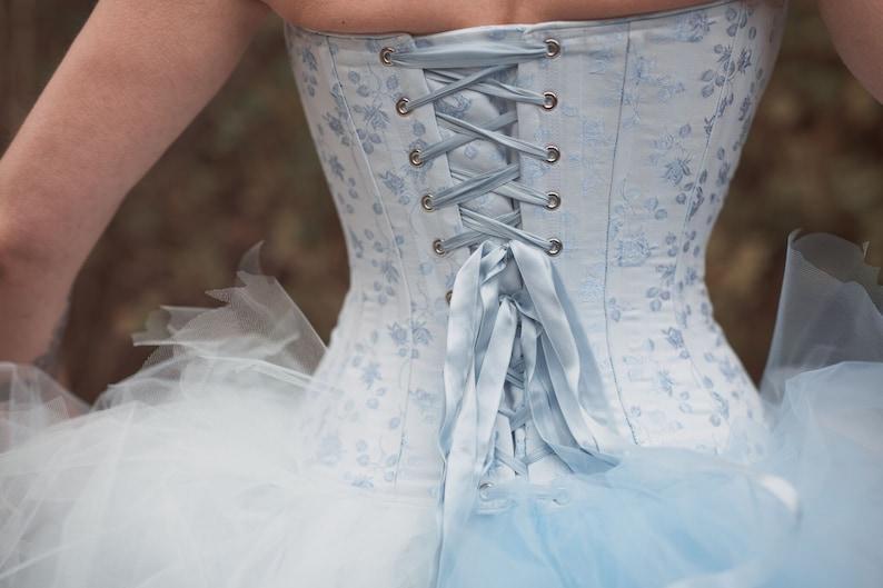 93d31e135 Blue Brocade Victorian Bridal Corset Victorian Clothing