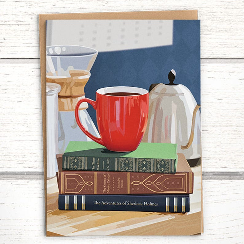Red Mug Coffee Card for book lovers. Birthday card for image 0