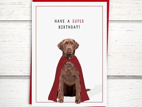 Chocolate Lab Birthday Card Happy Birthday Cards Dog Etsy