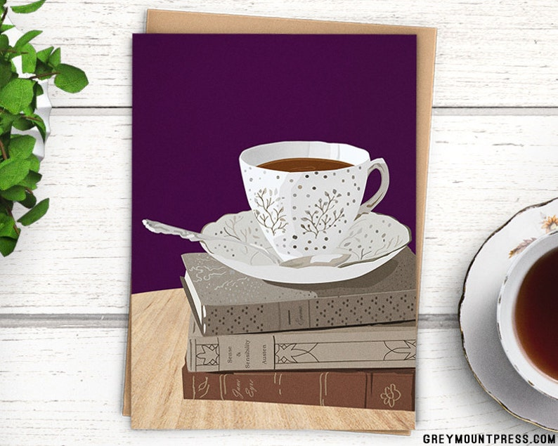 Purple Teacup Card for book lovers. Birthday card for image 0