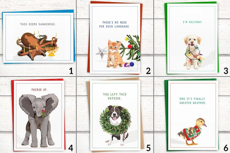 funny elephant christmas cards boxed set of 15 funny