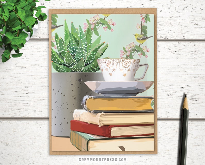 Succulent Teacup Card. Birthday card for bookworm tea lover image 0