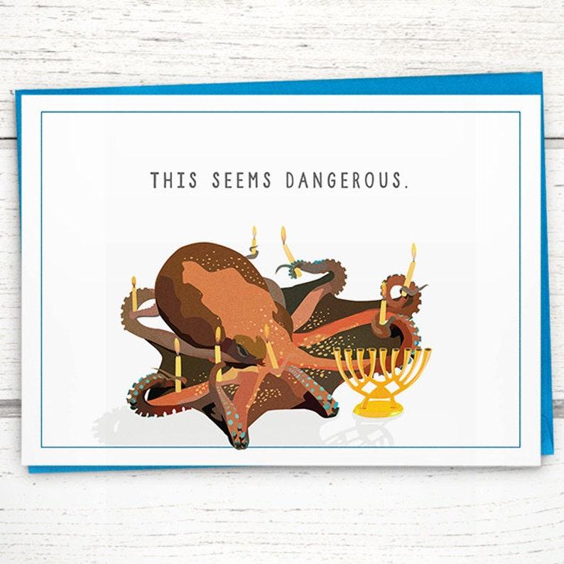 Funny Hanukkah Card. Octopus Hanukkah card This Seems image 0