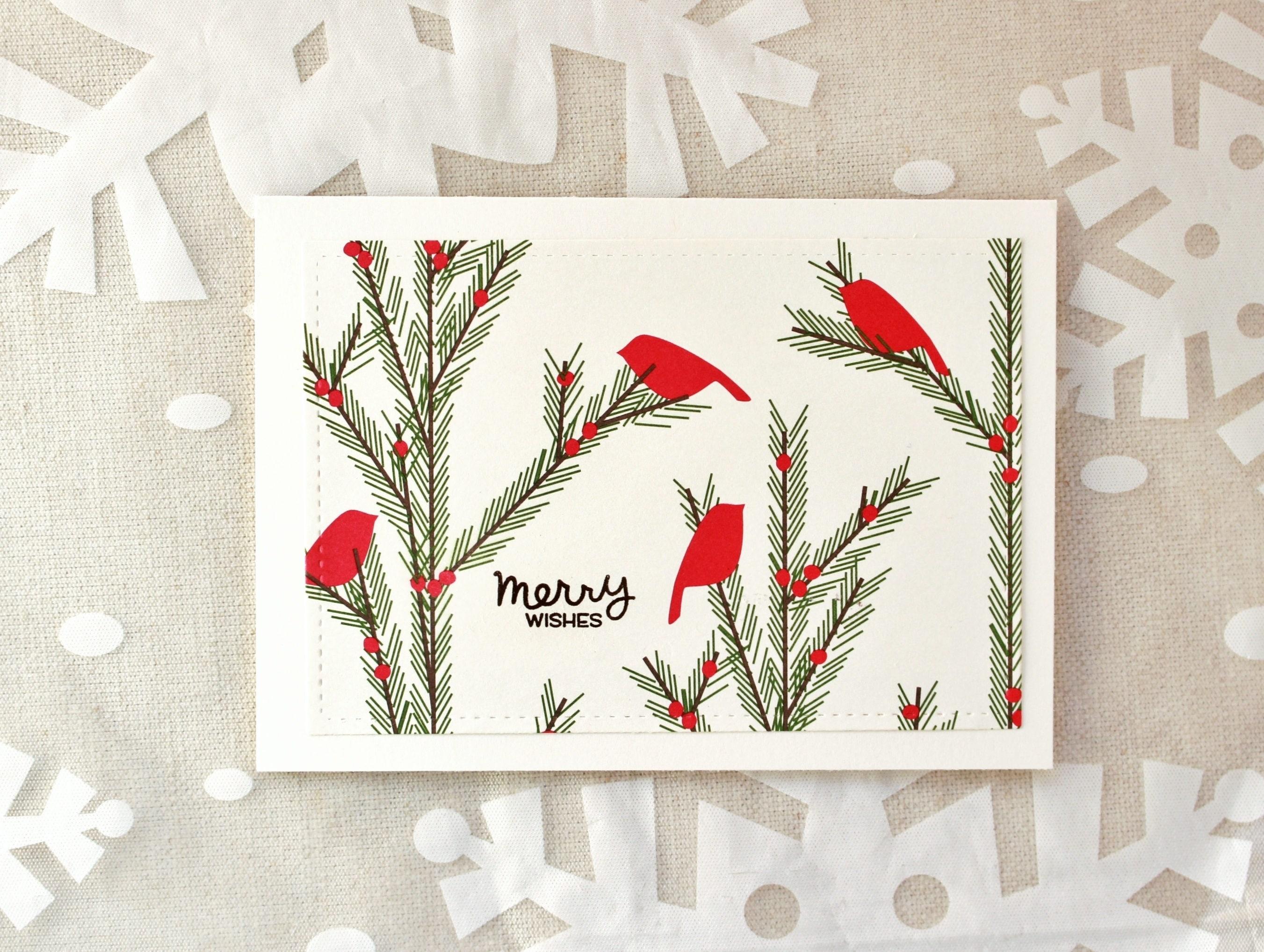 Christmas Card Set Winter Bird Christmas Cards Red Bird | Etsy