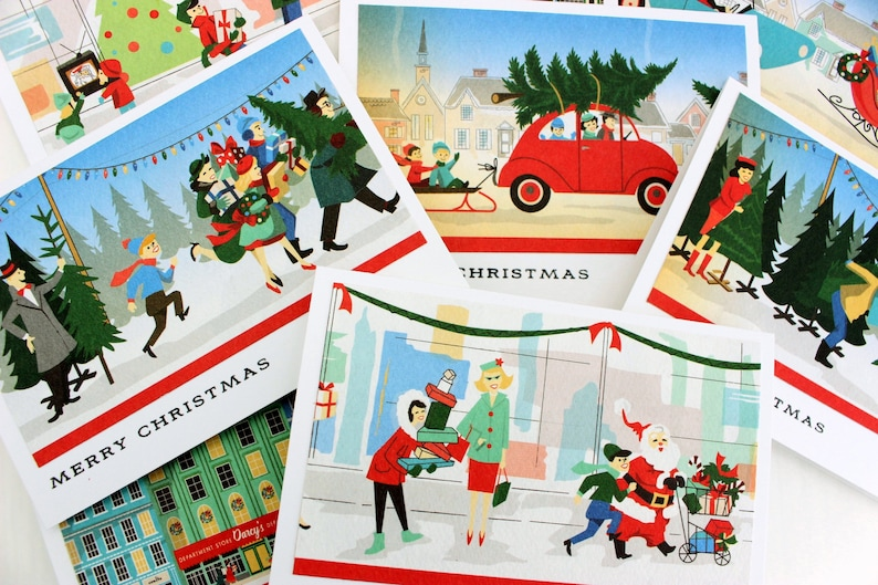 Retro Christmas.Retro Christmas Card Set Vintage Inspired Christmas Card Set 1950 S Retro Christmas Cards Retro Christmas Cards