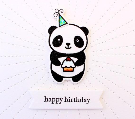 Panda Birthday Card Panda Bear Birthday Card Birthday Panda Etsy