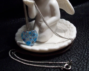 Blue Flower Fused Heart Necklace