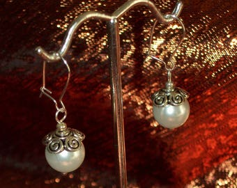 Silver Capped Glass White Pearl Earrings