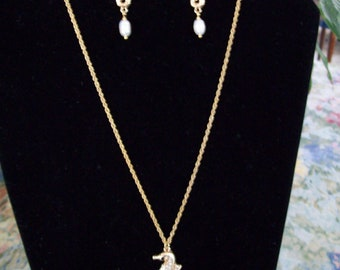 Sparkly Seahorse Freshwater Pearl Necklace And Earrings