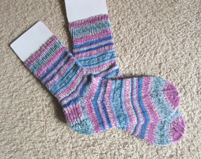Socks - Handknitted Socks - Colors Mixed Self-Striping - Unisex Size Large 4-6 US