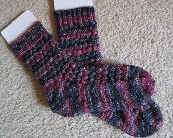Socks - Handknitted  Socks - Selfstriping in Mixed Colors - Size 9 Women US - Size 7.5 Men US