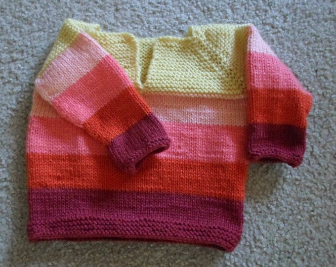 Handknitted Sweater for Girls / Toddler 2-3 years old - Light Summer Sweater in Striping Pink and Yellow