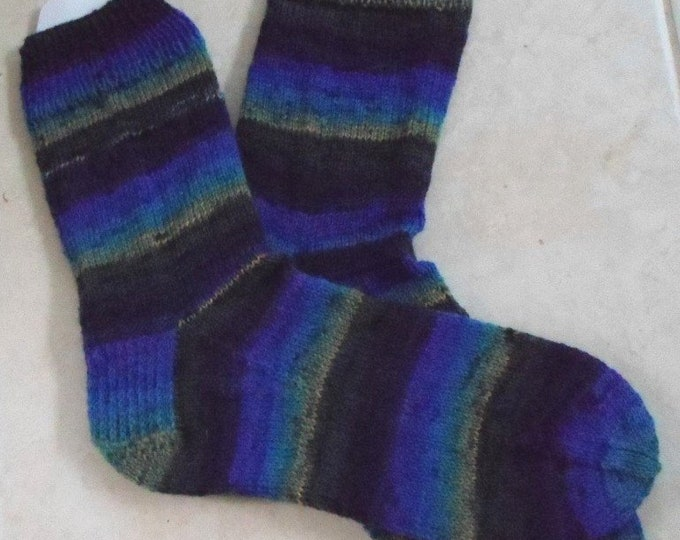 Socks - Hand Knitted Socks - Selfstriping Colors of Blue, Purple, Yellow, Gray and Green - Men Size 11-12 US