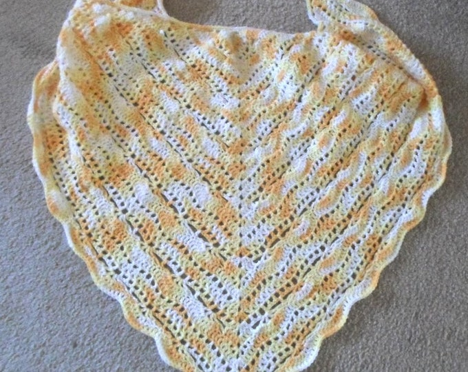 Crochet Triangle Shawl - Large Shawl - Self-Striping Acrylic Yarn in Yellow and White