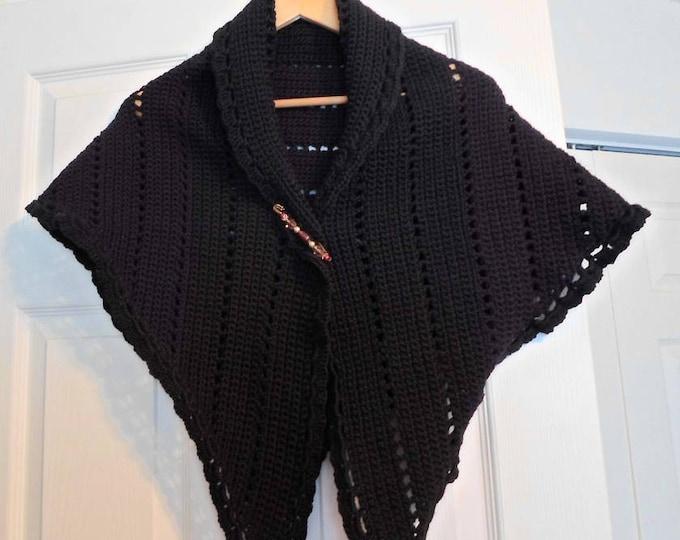 Crochet Triangle Shawl - Large Shawl - Classic Wool in Black