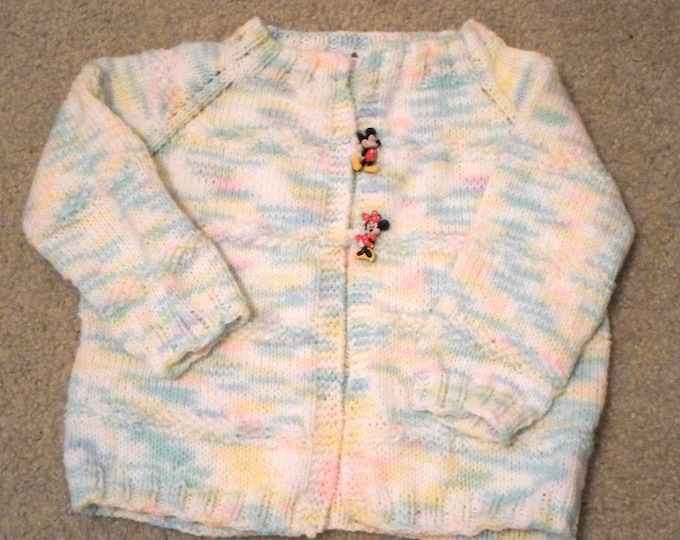 Children's Cardigan - Handknitted Cardigan - for 8-10 Year old Girl - Knitted in Mixed Colored Acrylic Yarn