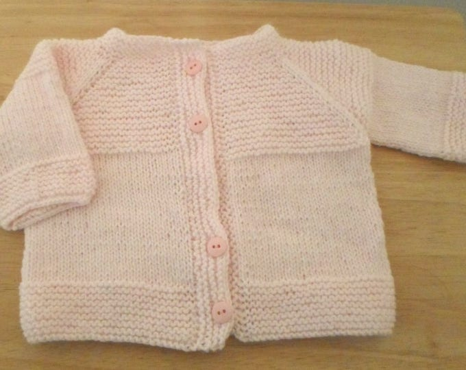 Baby Cardigan in Light Pink - Handknitted Cardigan for Baby Girl 12-18 month