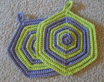 Potholder - Set of Two Crochet Potholder - Hexagon