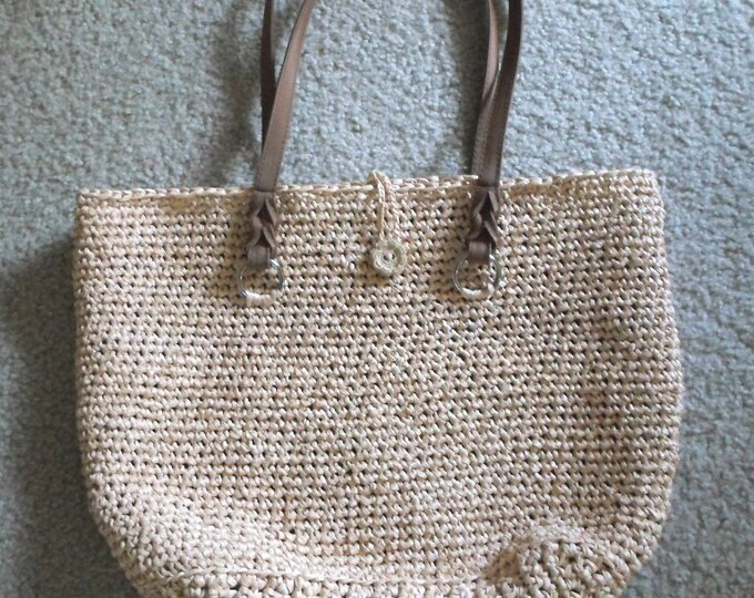 Purse - City Purse - Crochet Handbag City Purse Made of Raffia in Light Beige