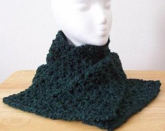 Scarf - Crochet Scarf in Dark Green - For Women or Men or Children