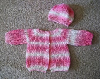 Baby Set with Cardigan and Hat for a Newborn Baby - Size 0-3 Month - Handknitted in Pink and White