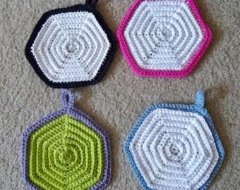 Potholder - Crochet Potholder - Hexagon Potholders