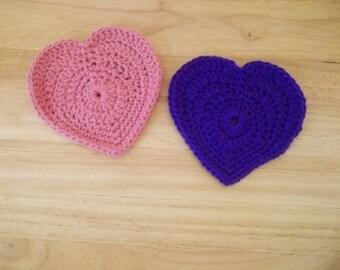 Coaster - Crochet Heart Coaster - Decoration for Valentine's Day