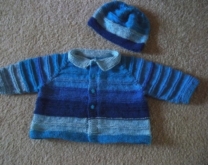 Sweater Set - Handknitted Baby Sweater with Hat - Fits Baby Boy 12-24 month - Colors are Shades of Blue Selfstriping