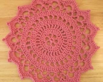 Doily - Crochet Doily in Pink