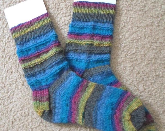 Socks - Handknitted Socks - Unisex - Colors Mixed Blue, Gray, Yellow, Pink Selfstriping - Size Medium 5.5-6 US