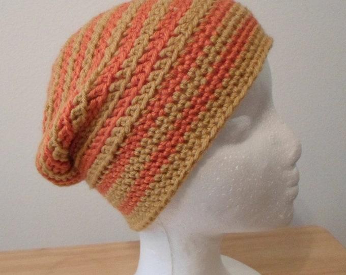 Slouchy Striped Crochet Hat for Children or Women Hat Size Medium