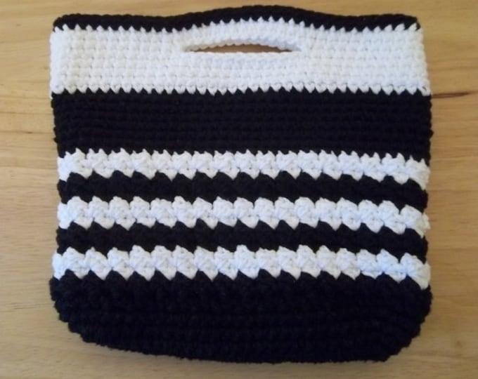 Purse - City Purse - Crochet Handbag City Purse in Black and White Cotton