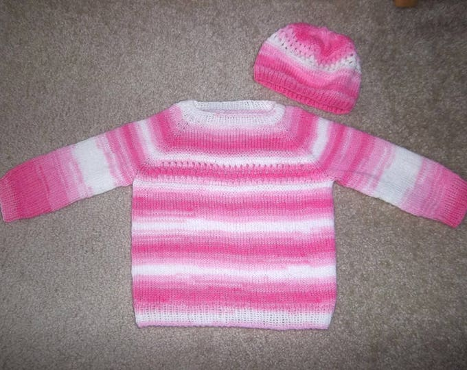 Handknitted Sweater for Girls / Toddler 3-4 years old - Light Summer Sweater in Self-Striping Pink and White - Comes with Matching Hat