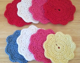 Coaster - Small Crochet Coasters in Different Colors - Choose Your Favorite Color - Cotton Yarn