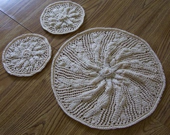 Doily - Home Decor - Hand Knitted Table and Candle Mats - One Large and Two Small Doilies