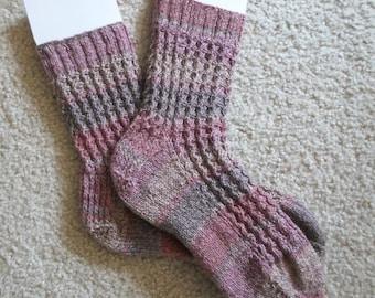 Socks - Handknitted Socks  - Size Medium - Color Mixed beige / Brown / Pink
