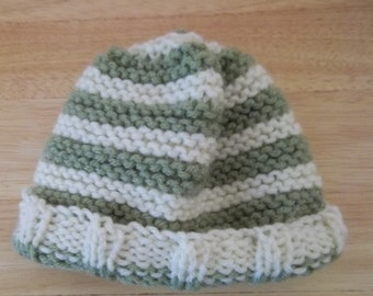 Hat - Hand Knitted Baby Hat in Green and White
