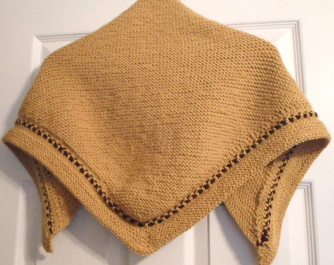 Shawl - Hand Knitted Triangle Shawl - Hand Knitted Wrap - Color Sunny Gold with a Chocolate Brown Border