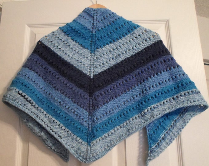 Shawl - Hand Knitted Triangle Shawl - Hand Knitted Wrap - Color Mix of Different Blue Shades