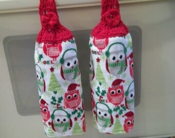Towel - Kitchen Towel with Crochet Towel Topper - Great for Christmas in Your Kitchen - Christmas Birds