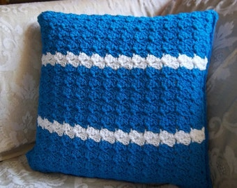 Pillow  - Crochet Pillow Cover in Blue with White Stripes - Comes with the Pillow Inside