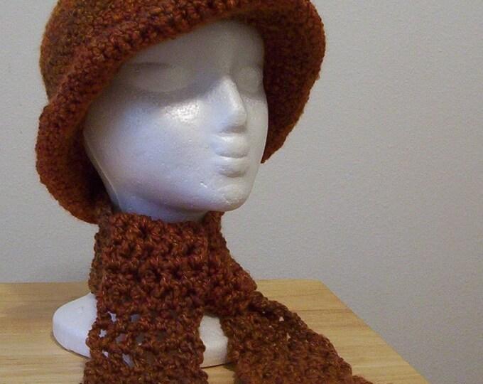 Hat - Crochet Hat with Scarflette in Brown - Size Medium